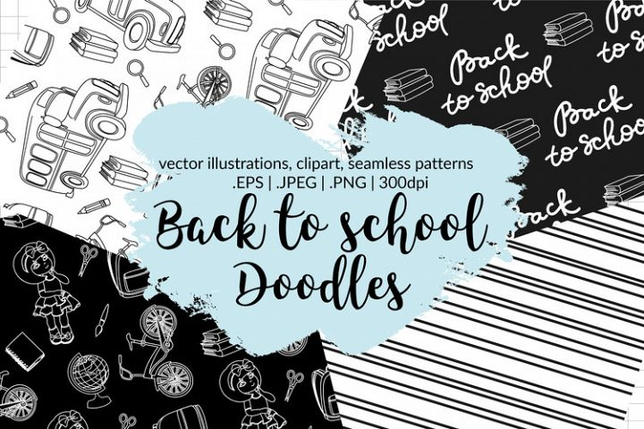 BACK TO SCHOOL DOODLES Clipart & Seamless Pattern Set