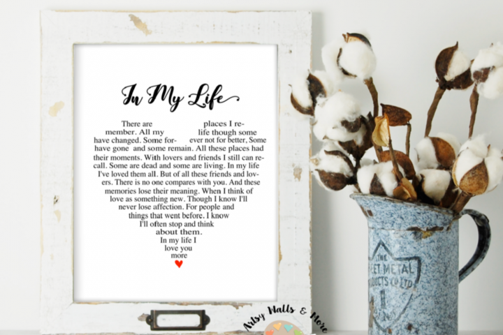 In my life quote song lyrics printable wall art