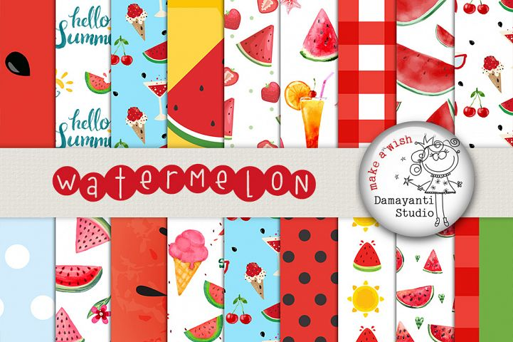 Watermelon digital papers, Picnic papers, Watermelon scrapbook papers, Red and green Watermelon Patterns, Printable papers, Planner sticker