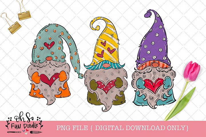 Valentine gnome with heart, doodle sublimation png file