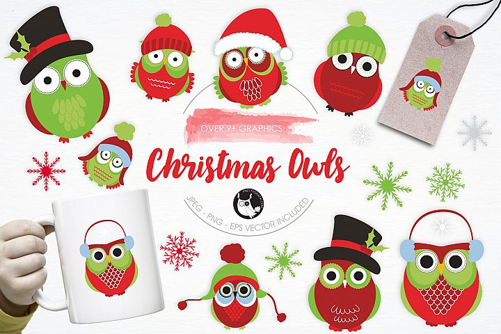 Christmas Owls graphics and illustrations