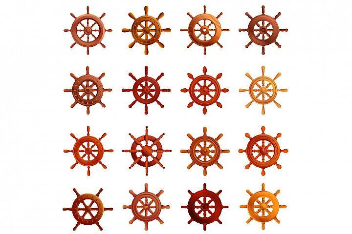 Ship wheel icons set, cartoon style