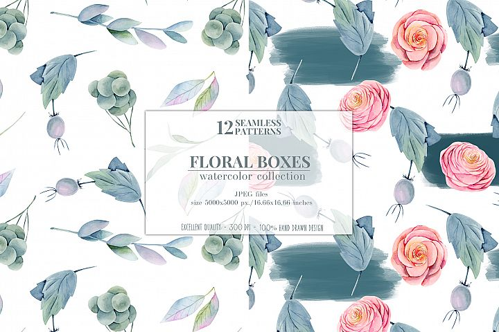 12 seamless patterns, Floral boxes watercolor col. example image 7