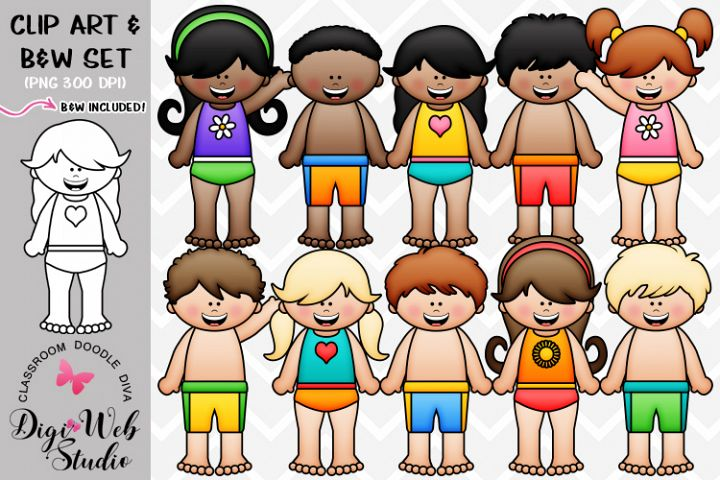 Clip Art / Illustrations - Big Grin Swimsuit Kids