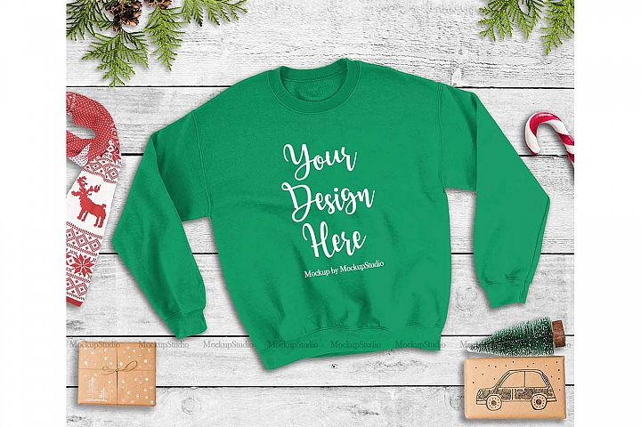 Irish Green Christmas Winter Unisex Sweatshirt Mock Up