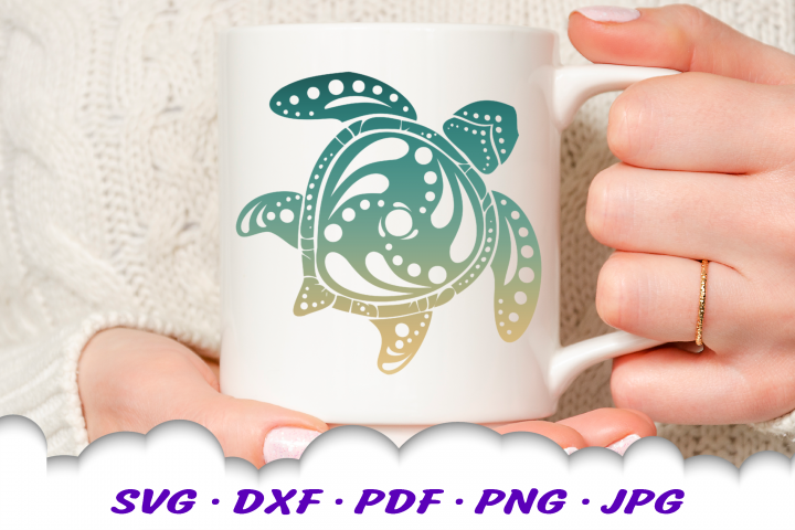 Mandala Sea Turtle SVG DXF Cut Files