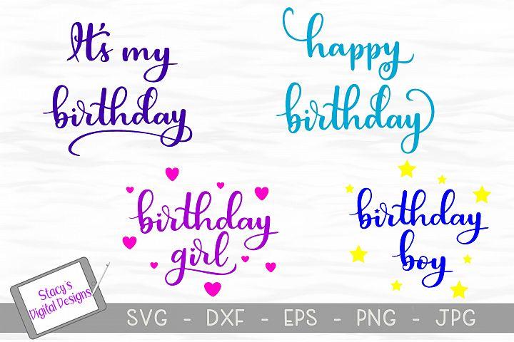 Birthday SVG Bundle / 4 birthday SVG files / Handlettered
