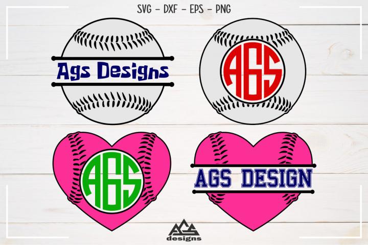 Baseball - Sport Split Monogram Frame Svg Design