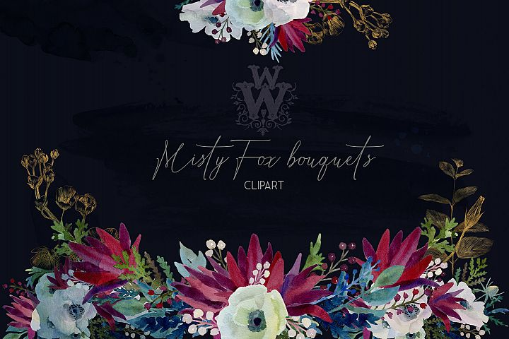 Watercolor anemone wedding floral bouquets, line art flower