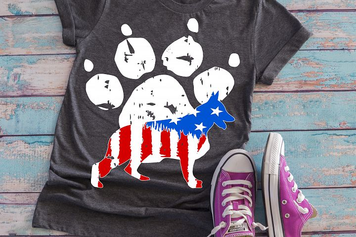paw print dog german shepherd american flag ombre