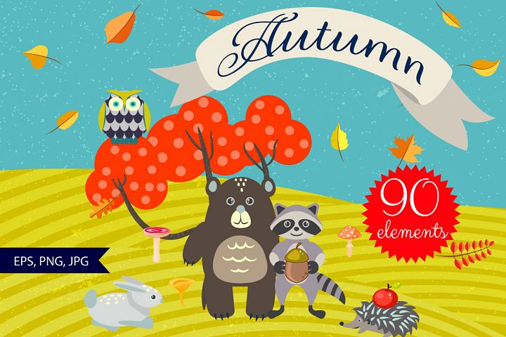 Autumn Forest and Animals Set