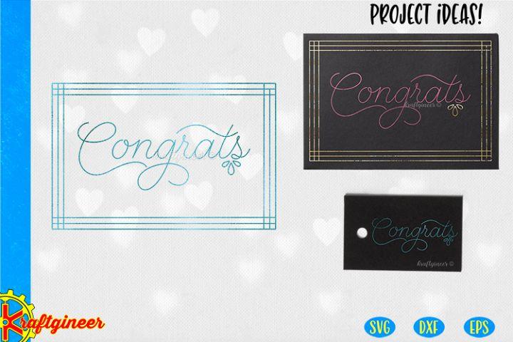Single Line Congrats Card SVG | Single Line SVG |Foil Quill