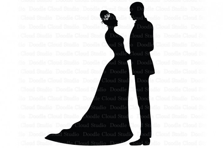 Bride and Groom SVG, Black Couple SVG, Wedding Clipart.
