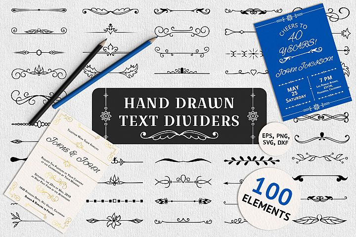 100 Hand Drawn Text Dividers