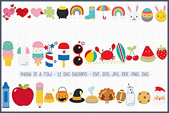 Three In A Row- SVG, Clipart Printables - 12 Designs