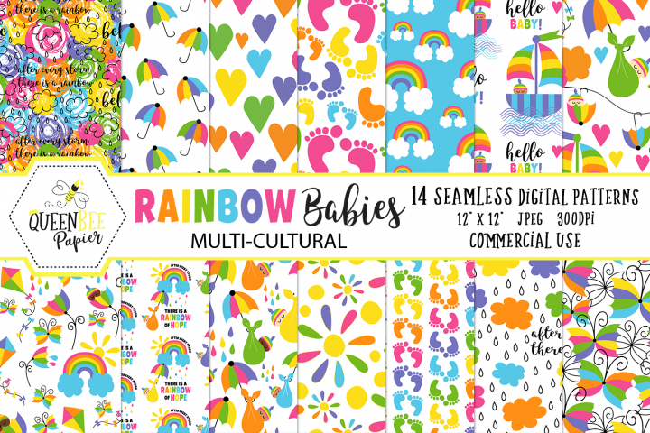 Rainbow Baby Seamless Digital Patterns