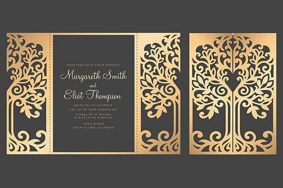 SVG Tree Gate fold wedding invitation , 5x7, Cricut Template