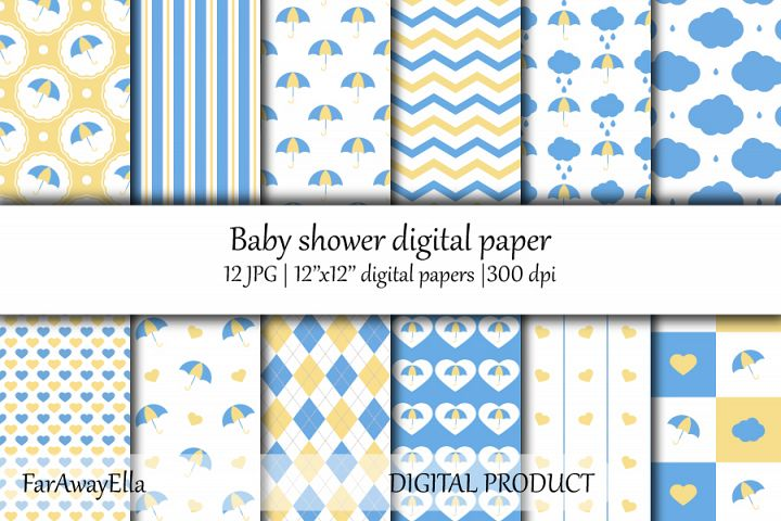 Baby shower blue and yellow JPG digital paper | Seamless