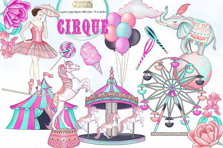 Cirque - watercolor circus Clipart collection
