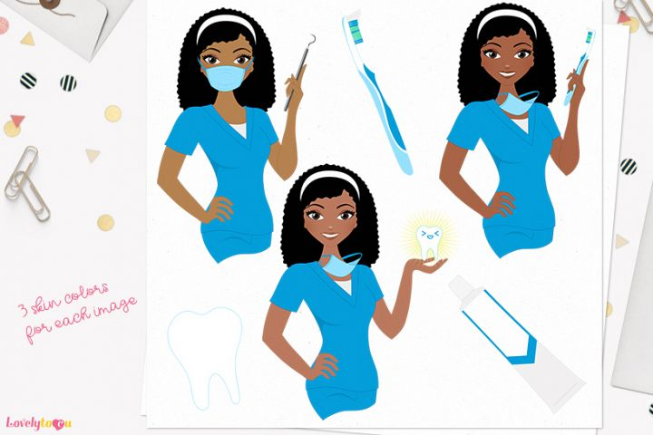 Dentist woman character clip art L400 Nelly
