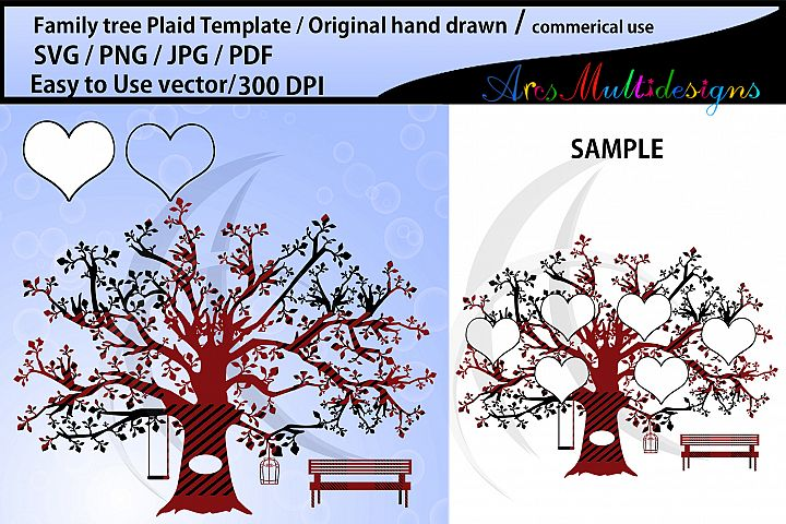 family tree Plaid clipart SVG template, EPS, jpg, Png, Pdf,