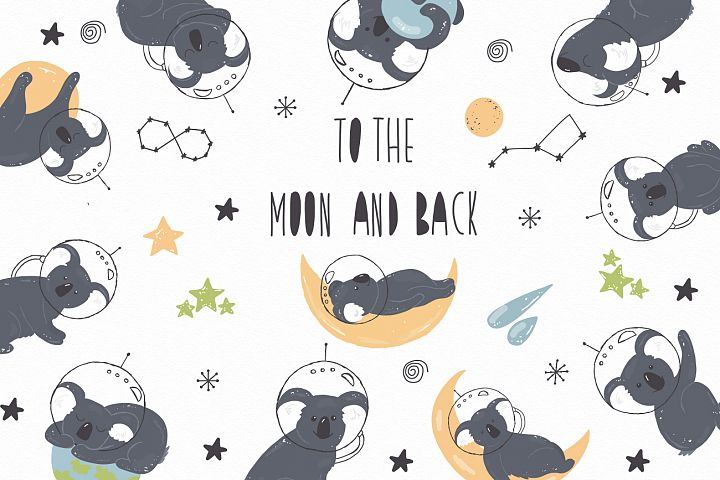 To the Moon and Back Vector coala space clipart planet