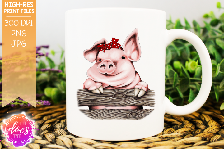 Cute Hand Drawn Pig with Bandana A - Printable Design