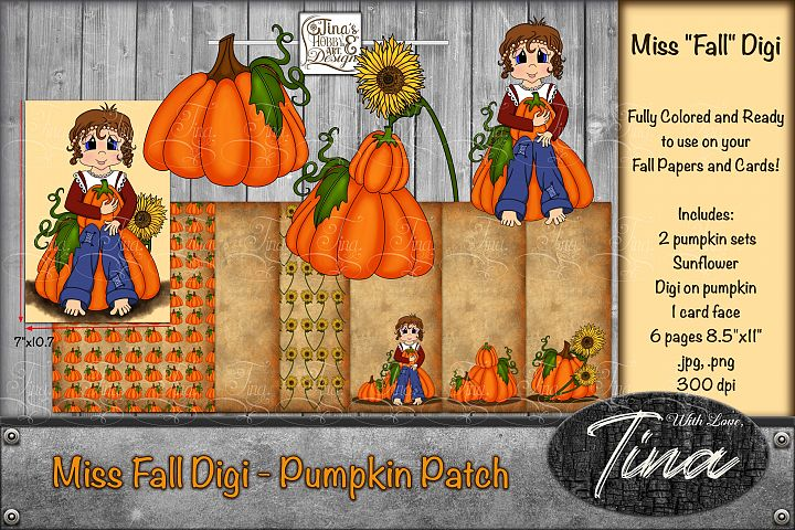 Miss Fall Digi and Elements Pumpkins Sunflower Girl Pages