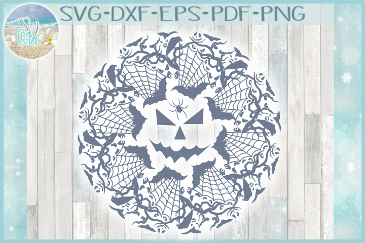 Spooky Bats Spiders Eyes Halloween Mandala Zentangle SVG