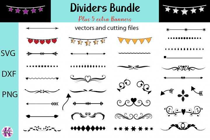 Dividers Bundle - SVG DXF PNG - For Crafters