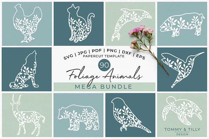 Foliage Animals Mega Bundle - Papercut SVG DXF PNG JPG PD