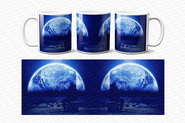 Space Surreal Collage Template For Mug Sublimation