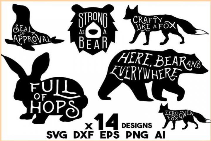 Animal SVG Bundle - 14 Animal Sayings and Puns - bunny SVG