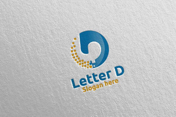 Digital Letter D Logo Design 16