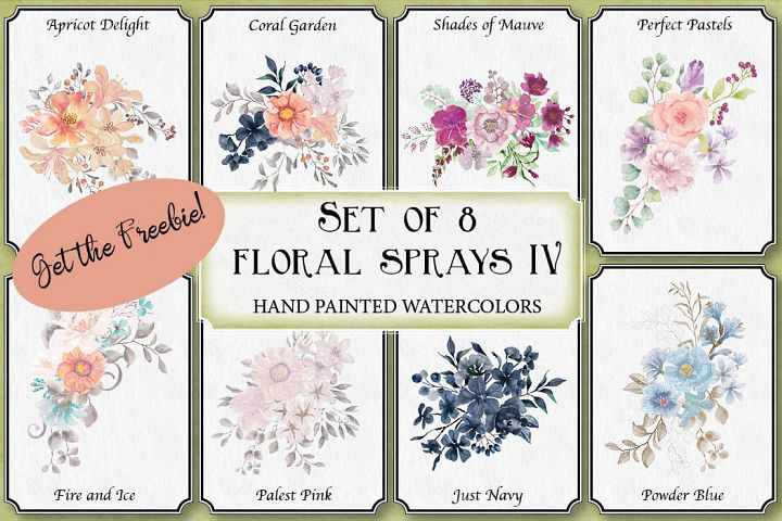 Set of 8 watercolor sprays and posies IV