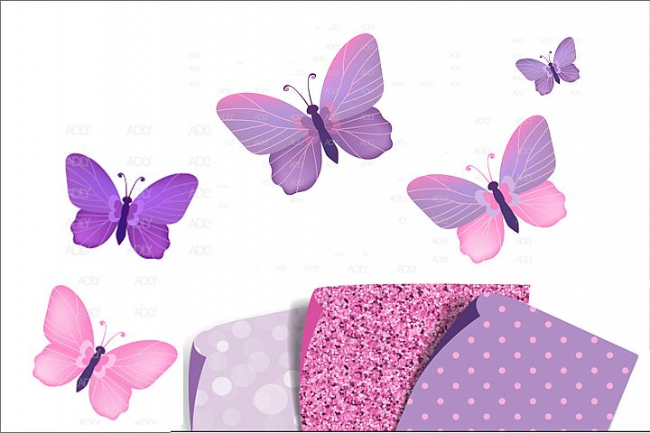 Pink and Purple Butterflies with 3 Patterns in PNG,JPEG