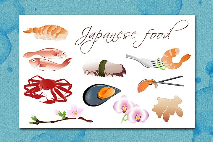 Traditional Japanese Food Icons Set