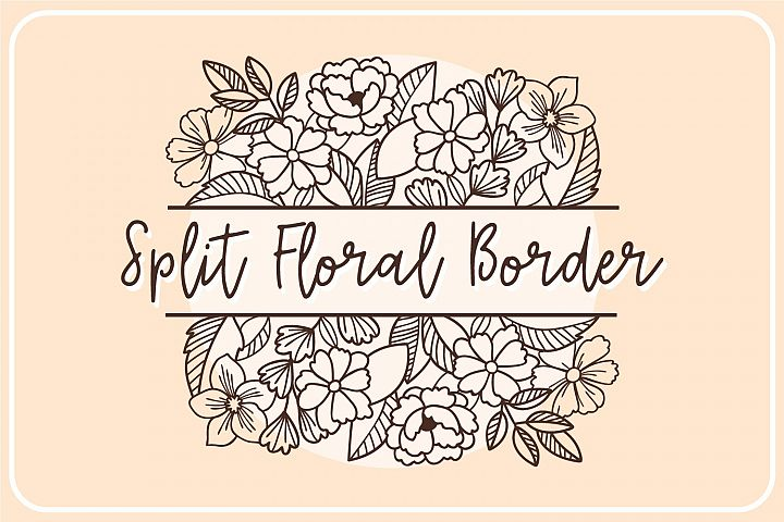 Split Floral Border- Monogram SVG Cut file