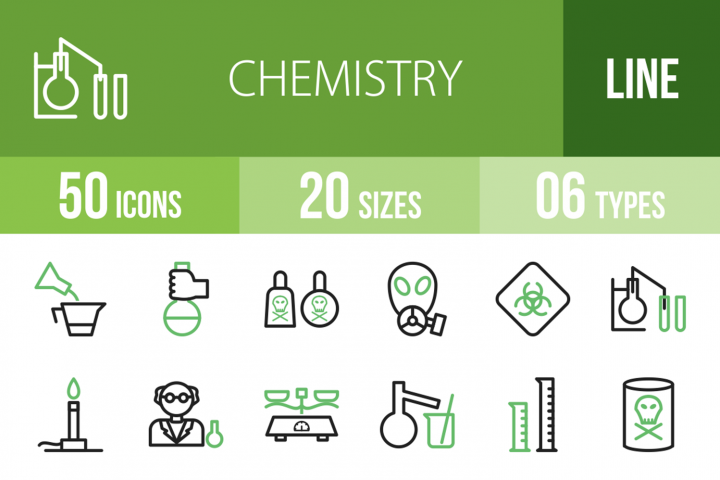 50 Chemistry Line Green & Black Icons