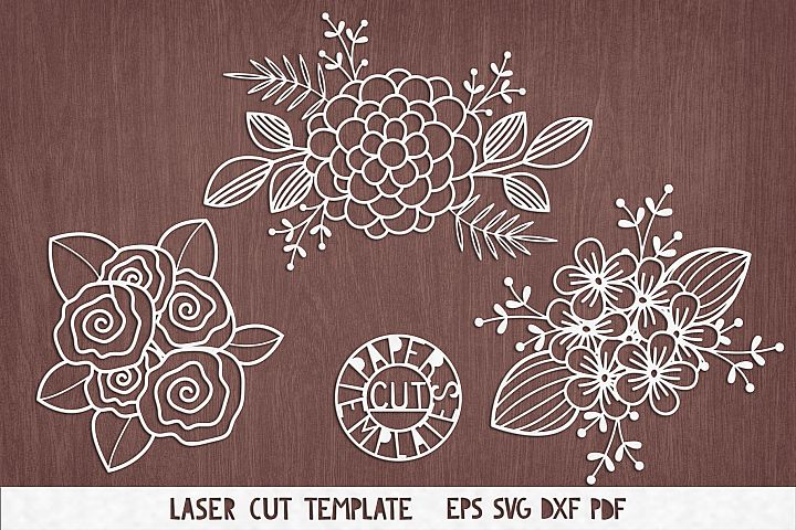 SVG Set of flowers for Cricut, Silhouette Cameo, Paper cut.