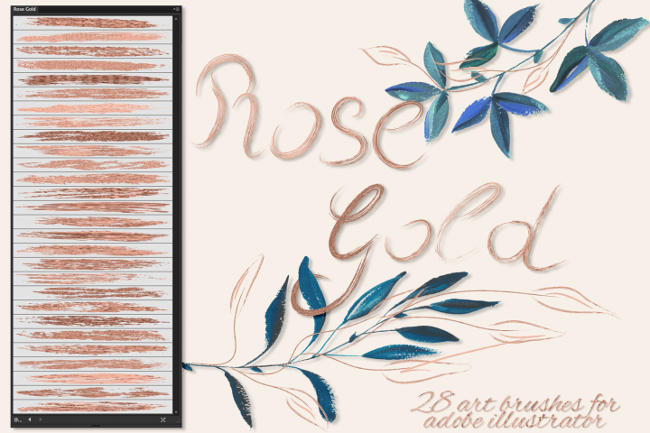Rose Gold Brushes for Illustrator