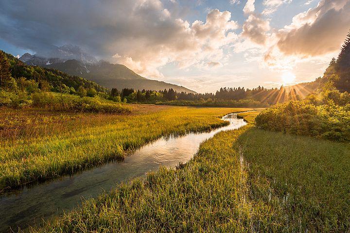 Zelenci springs at sunset