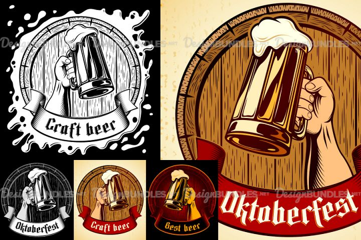Vector Oktoberfest Glass Mug Foam Barrel Vintage Background