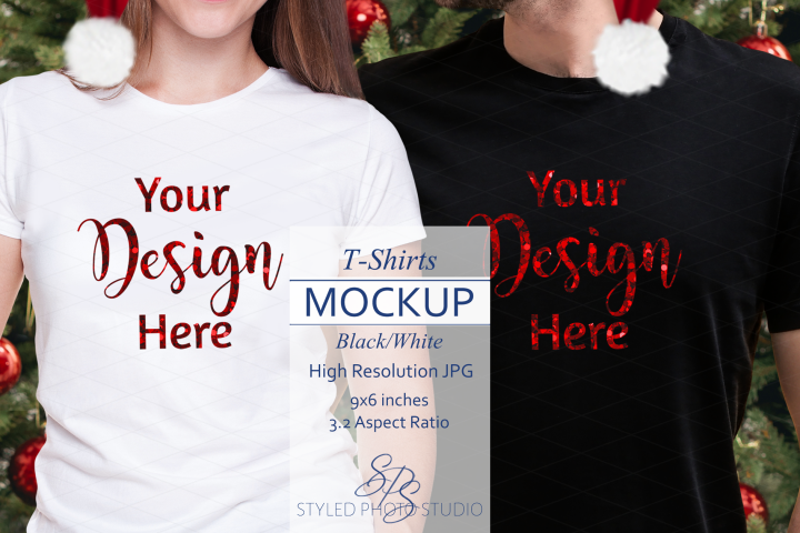 Christmas Couples Shirt Mockup, Men Woman Black White T, JPG
