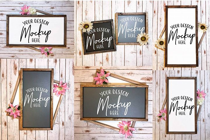 Wood Sign Mockup Bundle - 6 Sign Mock Ups