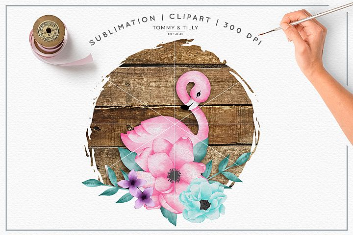 Watercolour Flamingo Wood Background - Sublimation PNG Cli