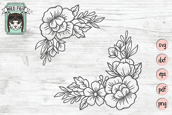 Flowers SVG file, Flower Corner svg, Floral cut file, Frame
