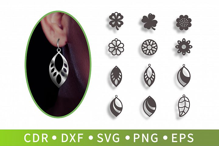 12 Earrings leaf SVG, Clover necklace, Sunflower Clipart