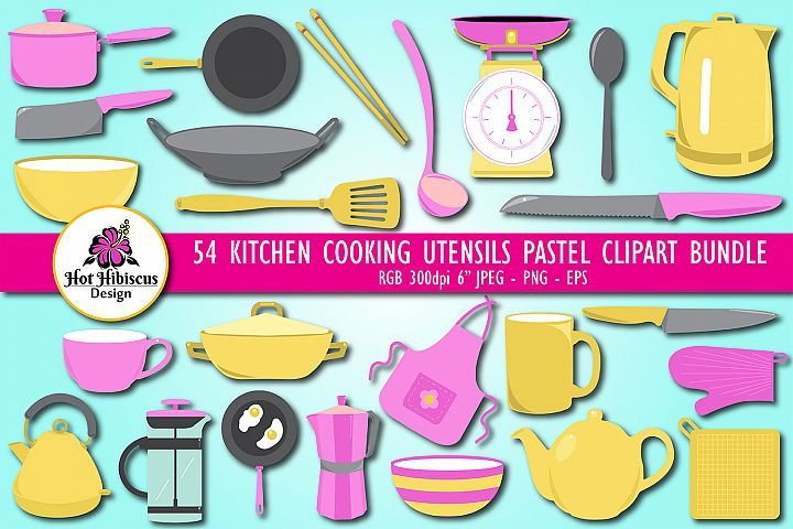 Kitchen Cooking Utensils Pastel Coloured Clipart Bundle