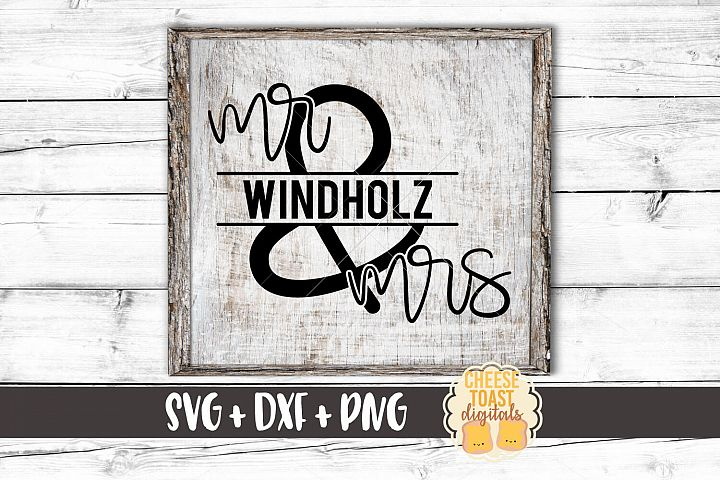 Personalized Mr Mrs Last Name Monogram Frame - Wedding SVG